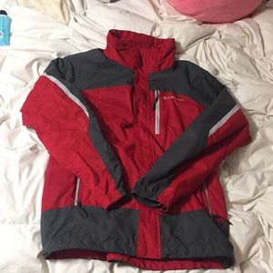 Red and black Columbia winter jacket